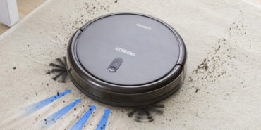 modified robot vacuum picture with exaggerated features like the scooping brushes