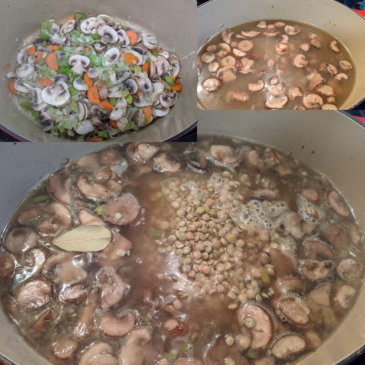 Composite image of preparation of mushroom lentil soup